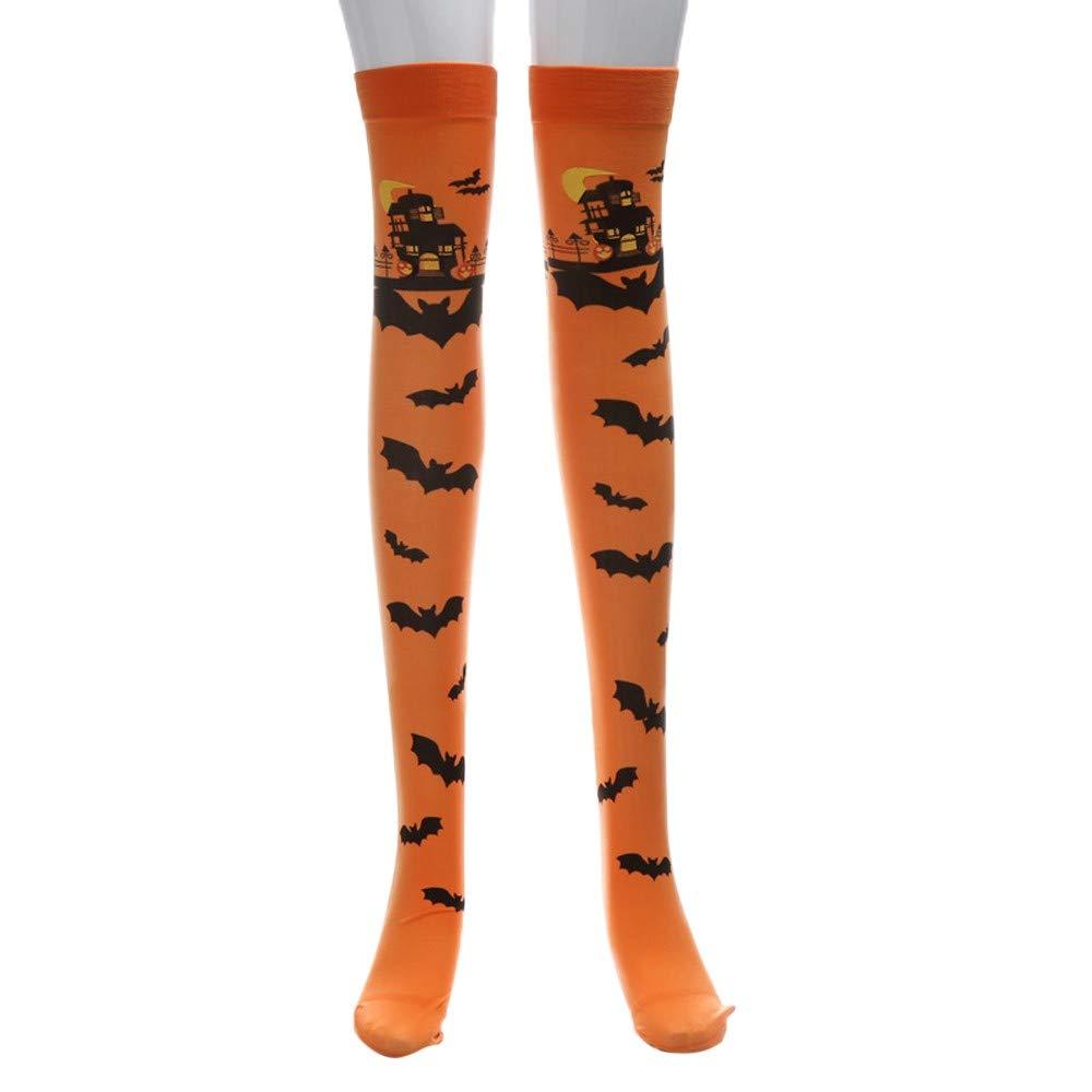 Challyhope Halloween Printed Long Tube Knee Socks Fancy Dress Party Funny Dress Up Stocking Props Costume (Orange, Free)