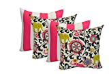 Set of 4 - Indoor 17'' Square Decorative Throw / Toss Pillows - 2 Preppy Pink and White Stripe and 2 Pink, Black, Green Bohemian Elephant
