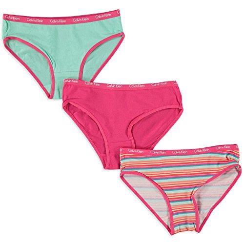 Calvin Klein Big Girls' Striped Bikini Panties - 3 Pack (8/10, Multi)