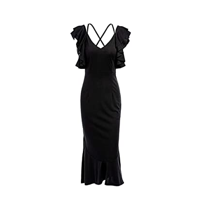 efd70aea2e3 Image Unavailable. Image not available for. Color  Women Halter Ruffle Backless  Dress ...