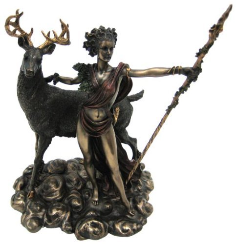 PTC 10.25 Inch Greek Goddess Diana Artemis and Moon Statue Figurine ()