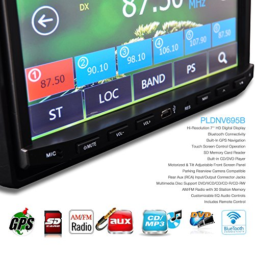 Pyle PLDNV695B 7-Inch Video Headunit Receiver GPS Navigation Bluetooth Wireless Streaming CD/DVD Player Double DIN