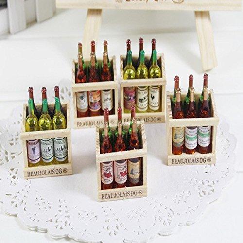 Creative Household Wooden Bottle Fridge Magnet (A row of five)