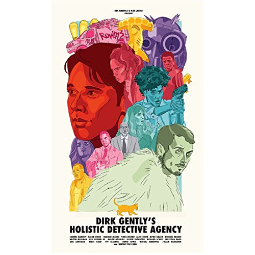 Samuel Barnett 8 Inch x 10 Inch photograph Dirk Gently's Holistic Detective Agency (TV Series 2016 - ) Colorful Title Poster kn