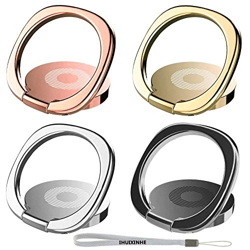 IHUIXINHE Phone Ring, 4PCS 360° Rotation Universal Cell Phone Finger Ring Grip Stand Ultra-thin Swivel Ring Buckle Phone Grip Kickstand for Universal Smartphone iPhone X 8 7 6 plus Galaxy S9 ()