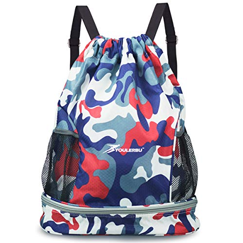 Drawstring Backpack Bag Water Resistant With Shoe Compartment Sackpack with Dry Wet Separated Sports Waterproof Gym Bag Swim Beach Bag for Men Women ()