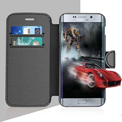 Samsung Galaxy S 7 Edge Leather Wallet Case with Credit Cards Slot and Metal Magnetic, TAKEN Galaxy S7 Edge Plastic Flip Case / Cover, Vintage and Fashion, Durable and Shockproof Holster (Gray) 2016