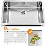 VAPSINT Modern Commercial 32 Inch 18 Gauge Undermount Stainless Steel Single Bowl Kitchen Sinks
