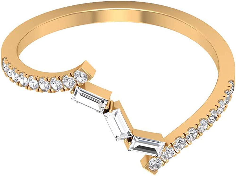 Anillo de boda antiguo, anillo minimalista para dama de honor, HI-SI 0,33 CT, anillo de diamante en forma de baguette, anillo de promesa apilable, regalo de aniversario, 14K Oro