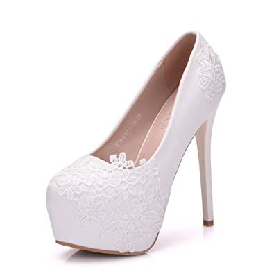 c88830d6025 Amazon.com  coollight Bridal Shoes Thin Heels Sandals Pointed Toe High Heels  Women Pumps White Lace Wedding Shoes(0 0)  Shoes