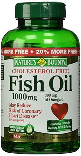 Aceite de pescado de generosidad de la naturaleza 1000 Mg. cápsulas de Omega 3 libre de colesterol, 145-Conde