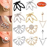 10 pairs ear jacket stud lotus flower earrings for women and girls simple chic jewelry