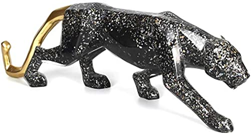 YUHUAWYH Modern Art Collectible Figurines Resin Sculpture Leopard Statues for House Office Decoration