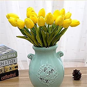 JJH 1 Branch PU Real Touch Tulips Tabletop Flower Artificial Flowers 4