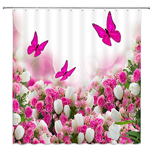 jingjiji Fantasy Floral Shower Curtain Pink Rose White Tulip Flower Butterfly Spring Landscape Romantic Woman Bathroom Decor Curtains Polyester Fabric Waterproof with Hook 70 X 70 Inch