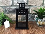 Personalized Decorative Candle Lantern 6x6x11 - Unique Wedding-Gifts for the Couple (White - Chapman Design)