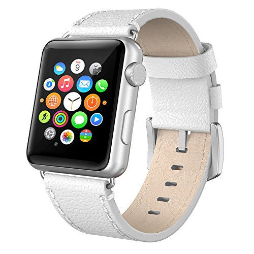 Apple Watch Band 38mm Leather, Swees iWatch Genuine Leather Bands Strap Replacement Wristband with Stainless Steel Clasp Buckle for Apple Watch Series 2 (2016) / Series 1 Women Men, White