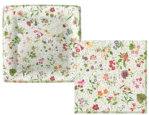 Garden Party Supply Pack! Floral Themed Bundle Includes Plates and Napkins for 16 Guests in an English Country Garden Design ()