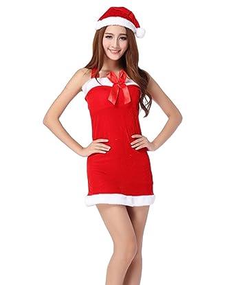 4b4b8f83386d COMVIP Womens Mrs Santa Claus Christmas Costume Dress with Hat Red:  Amazon.co.uk: Clothing