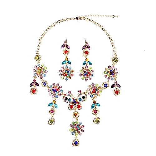 Fille Era Excellente Couleur or cristal Gem Papillon Fleurs Charm pendentif Colliers de collier et de boucles d'oreilles