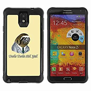 A-type Arte & diseño Anti-Slip Shockproof TPU Fundas Cover Cubre Case para Samsung Galaxy Note 3 III / N9000 / N9005 ( Dollar Bill Funny Sloth )