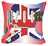 """Rikki Knight Electric Guitar with a Union Jack Scratchplate Microfiber Throw Décor Pillow Cushion 18"""" Square DOUBLE SIDED PRINT (Insert Included)"""