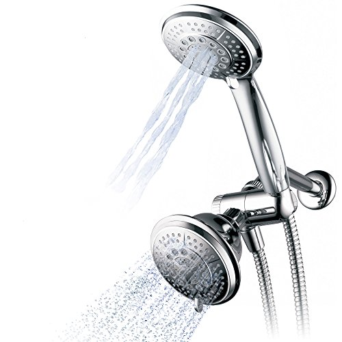 Hydroluxe 1433 Handheld Showerhead & Rain Shower Combo. High Pressure 24 Function 4″ Face Dual 2 in 1 Shower Head System with Stainless Steel Hose, Patented 3-way Water Diverter in All-Chrome Finish