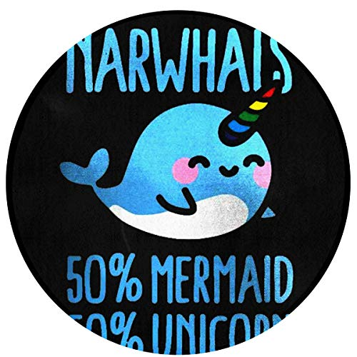 NiYoung Roung Area Rug, Floor Pad Rugs Toilet Bath Rug, Standing Mat, Entrance Rug - Mermaid Unicorn Narwhals Black Rugs Mat Home Decor for Living Room Bedroom Home, Non Skid Backing