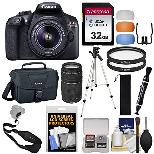 Canon EOS Rebel T6 Wi-Fi Digital SLR Camera & EF-S 18-55mm is II & 75-300mm III Lens & Bag with 32GB Card + Tripod + Filters + Strap + Kit
