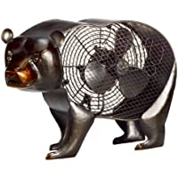 DecoBREEZE Table Fan Two-Speed Electric Circulating Fan, Black Bear Figurine Fan