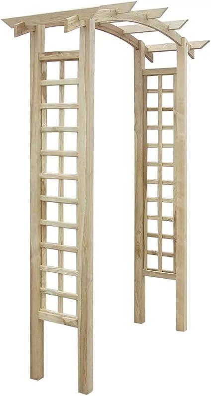 SOULONG Arco de madera para jardín con enrejado, madera FSC, soporte para pérgola de arco, 150 x 50 x 220 cm