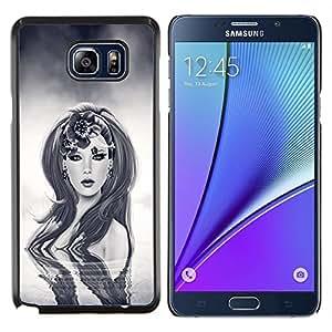 KLONGSHOP // Cubierta de piel con cierre a presión Shell trasero duro de goma Protección Caso - Sci Fi Robot Mujer - Samsung Galaxy Note 5 5th N9200 //