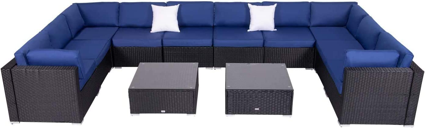 Kinbor 12 Pieces Patio Furniture Sectional Set Outdoor All-Weather Black PE Rattan Wicker Lawn Conversation Sets Cushioned Yard Sofa Couch Set with 2 Glass Coffee Table, Dark Blue