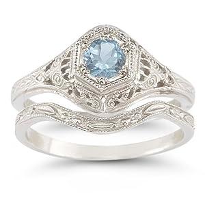 Amazoncom Antique Style Aquamarine Wedding Ring Set Jewelry