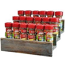 Rustic Style 3 Tier Stair Step Design Distressed Wood Spice Rack Jar Storage Organizer Shelf - MyGift®
