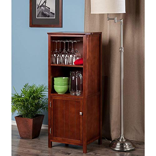 Tall Wooden Pantry Cupboard Storage Cabinet with 2 Shelves and Door, Free Standing Wood Kitchen Organizer, Multipurpose Display Storage Furniture, Brown Walnut Accent Storage Cabinet for Dining Room ()