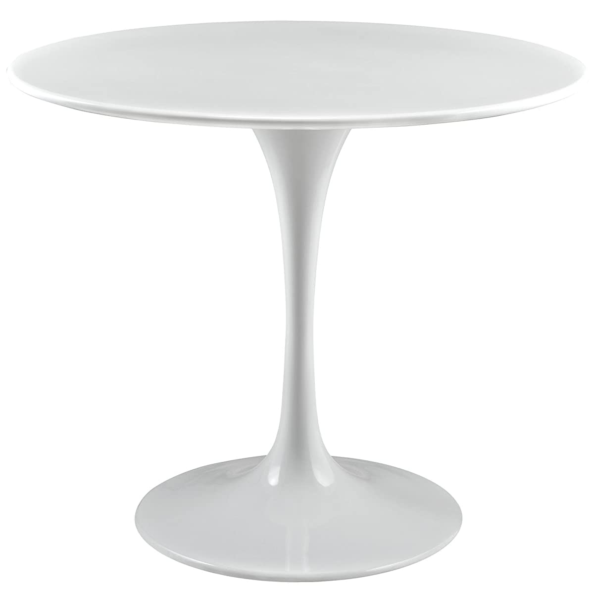 """Modway Lippa 36"""" Wood Top Dining Table in White"""