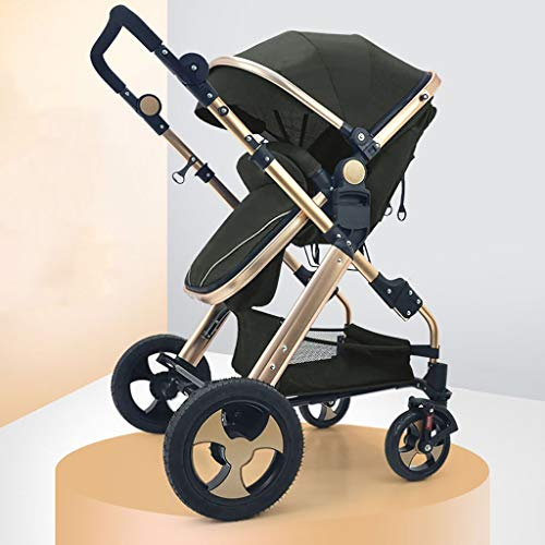 TXTC Compact Convertible Luxury Strollers, Pushchair Stroller,Portable Pram Carriage Multifunctional Pushchair ,5-Point Harness and High Capacity Basket (Color : Black)