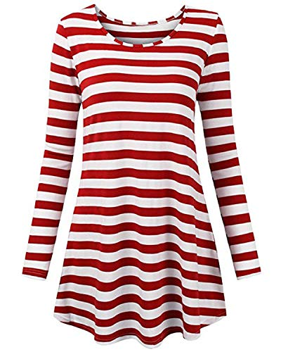 ABYOXI Womens Long Sleeve Stripe Shirt Tops Wheres Waldo Costume Crewneck Tops Blouse Red S