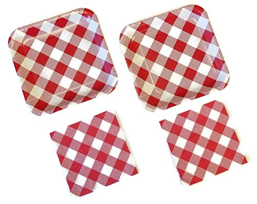 Red & White Gingham Retro Summer Picnic Plates
