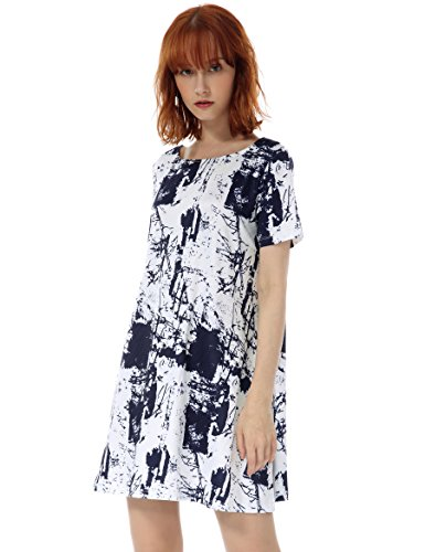 OEUVRE Women's Casual Tie Dye Abstract Pattern Shift T-Shirt Knee Length Tunic Jersey Dress White 12 - Abstract Shift Dress