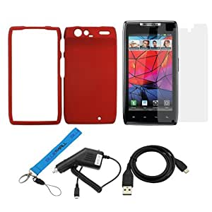 GTMax Red Rubberized Snap on Hard Cover Case + Car Charger + Sync USB Data Cable + Clear LCD Screen Protector + Wrist Strap Lanyard for Motorola DROID RAZR XT912 / HD