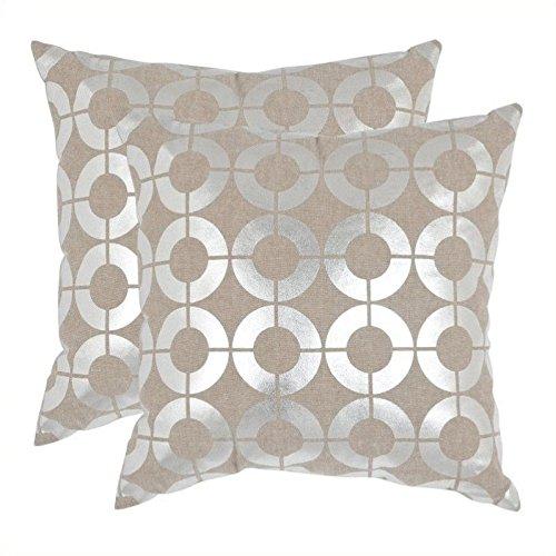 [Safavieh Pillow Collection Throw Pillows, 18 by 18-Inch, Bailey Pillow Silver, Set of 2] (Bailey Rug Collection)