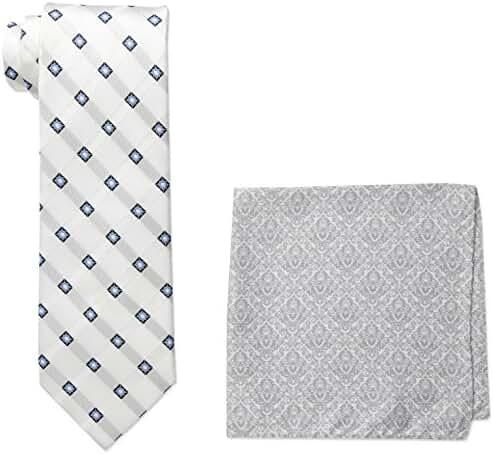 Steve Harvey Men's Satin Grid Necktie and Brocade Pocket Square Set