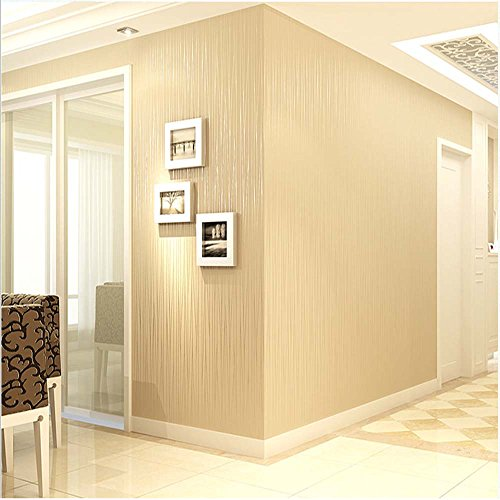 Wallpaper Modern Stripe (QIHANG Non-woven Classic Flocking Plain Stripe Modern Fashion Wallpaper Wall Paper Roll for Living Room Bedroom Beige Color 0.53m*10m=5.3㎡)