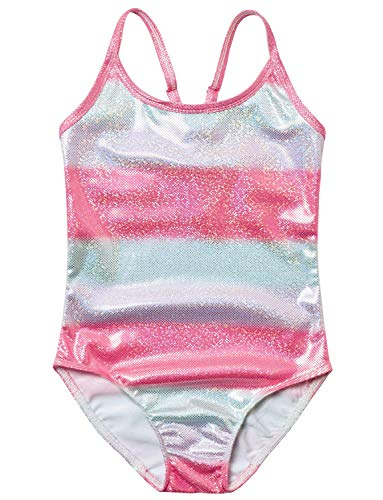 Rainbow Swimsuits for Girls 4t 5t Sparkle Bathing Suits Beach Swimwear for Kids -