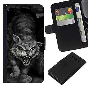 eJoy---La carpeta del tirón la caja de cuero de alta calidad de la PU Caso protector - Samsung Galaxy A3 - --Painting Tiger Wild Cat Monster Hero