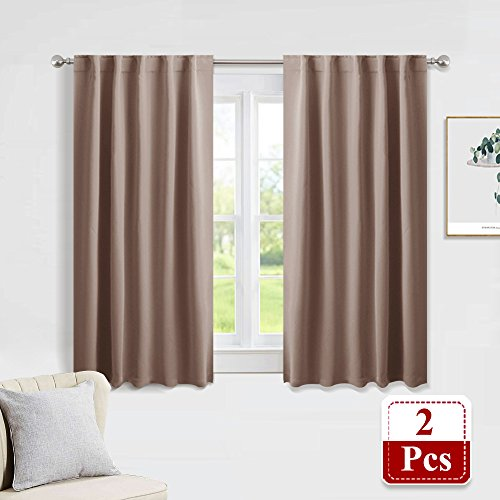 PONY DANCE Blackout Curtains Home Decoration Drapes - Light Blocking Thermal Insulated Window Back Tab/Rod Pocket Curtain Panels Privacy Protect for Bedroom, W 42 in by L 54 in, Mocha, (Fall Dance Decorations)