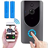 Wireless Doorbell, Smart Door Bells Home Security Bell Camera With Battery, Real-Time Video and Two-Way Talk Night Vision PIR Motion Detection (2018 New)
