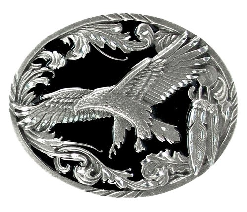 Pewter Belt Buckle - Scroll with Flying Eagle (Diamond Cut)